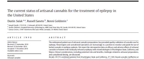 Nuevo estudio sobre epilepsia y preparados artesanales de cannabis