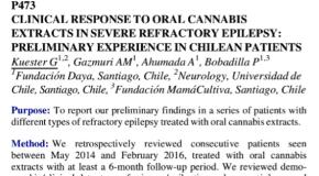 Respuesta clínica a extractos orales de cannabis en epilepsia refractaria severa: experiencia preliminar en pacientes chilenos.